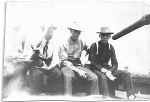 Lynn's co-workers on a handcart, Denver, 1907