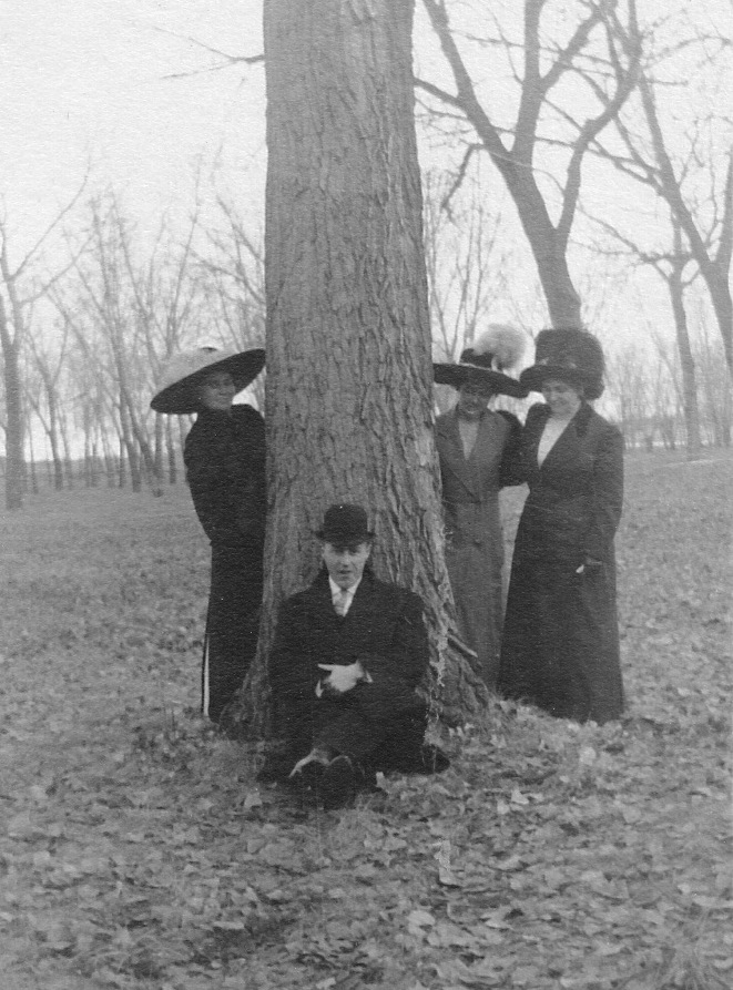 The suitor observed by the Stout sisters, Sunday walk, 1912